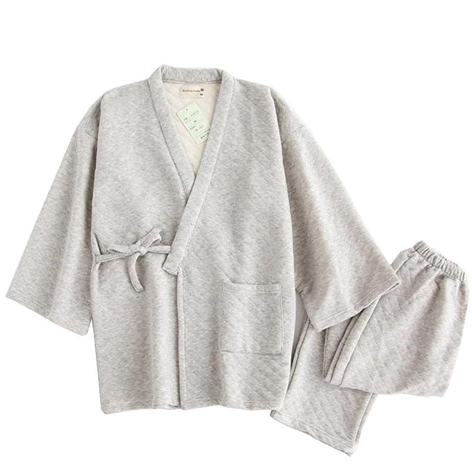 Pijamas de kimono de invierno cálido más grueso Juego de túnicas de estilo japonés de hombres