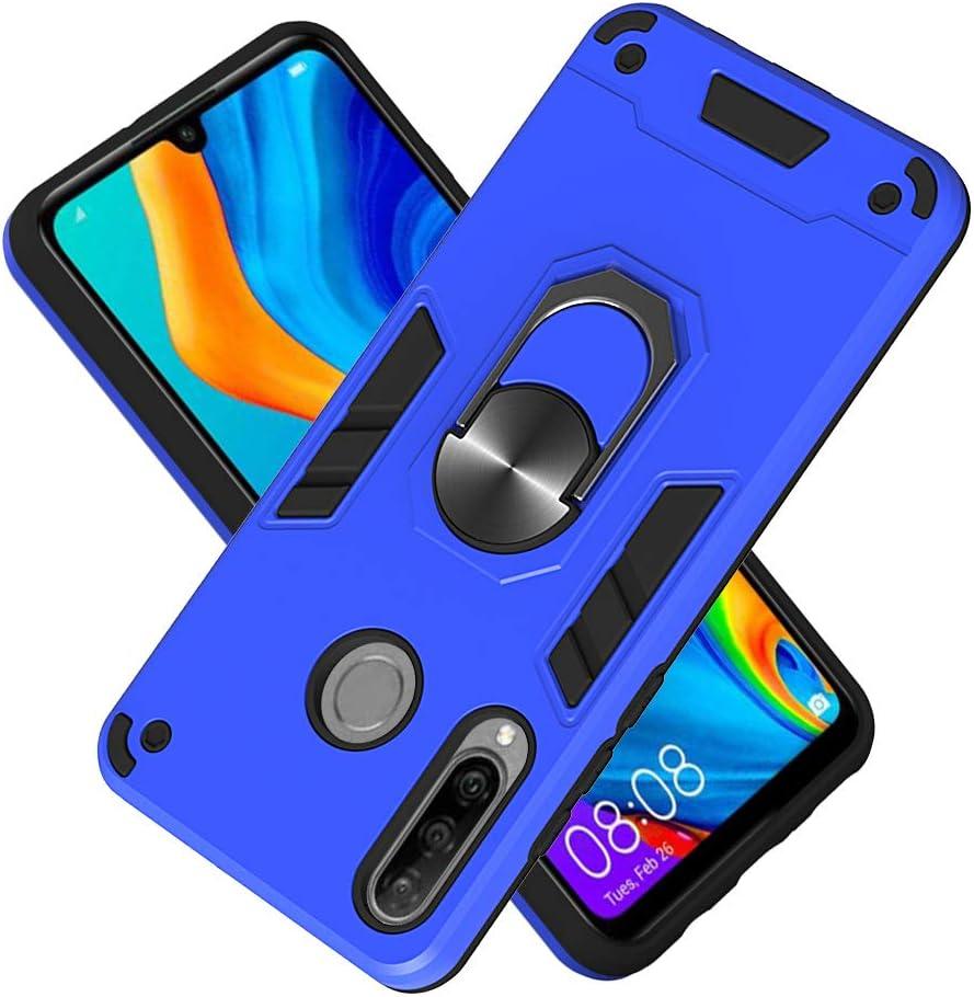 Funda para Huawei Nova 4e Soft TPU + Duro PC Doble Parachoques Cubierta a Anillo Soporte con Soporte y Carcasa Desmontable, Funda Protectora Serie Armadura (Azul Oscuro)