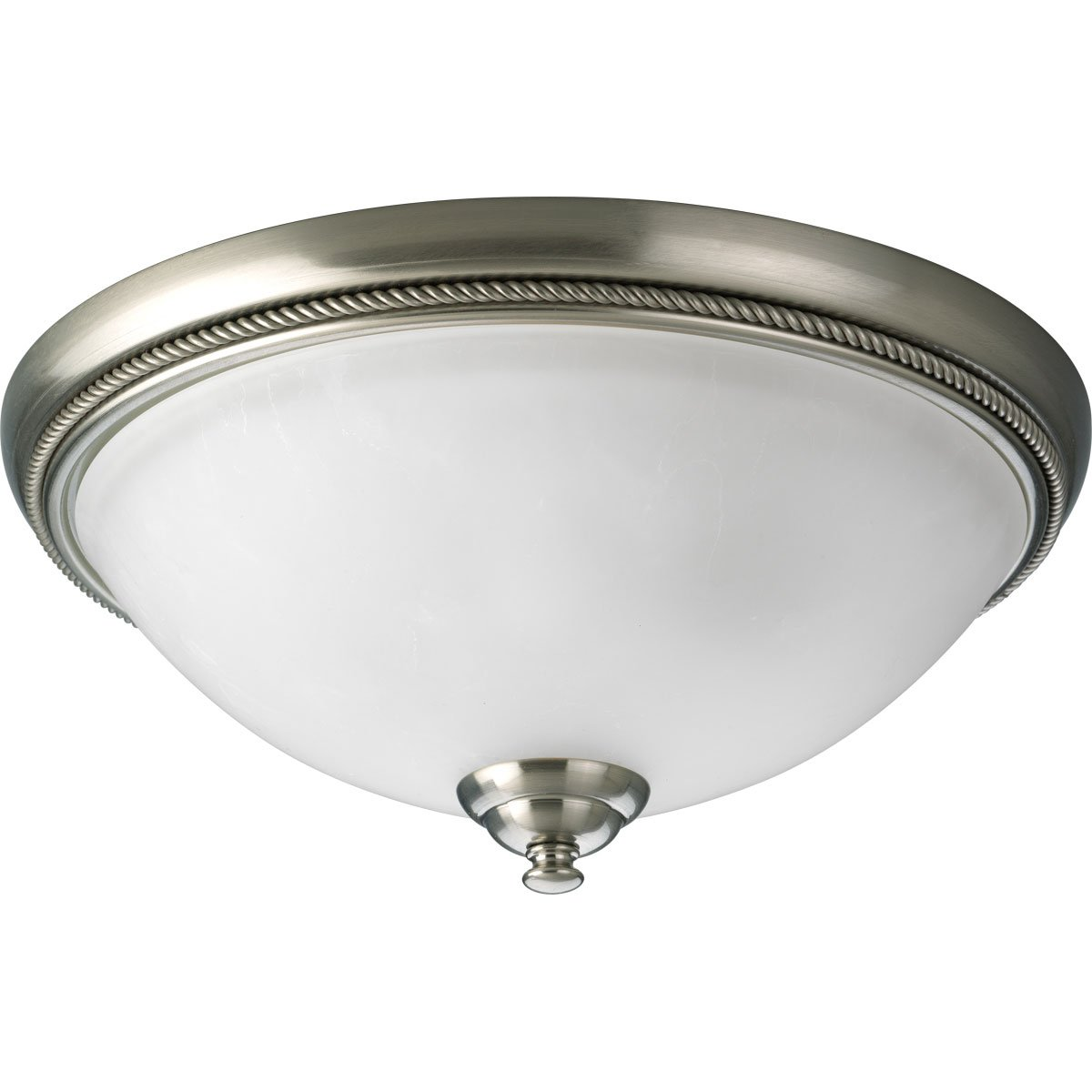 Progress Lighting P3479-09 2-Light Close-To-Ceiling with Etched Watermark Glass and Twisted Wire Details, Brushed Nickel