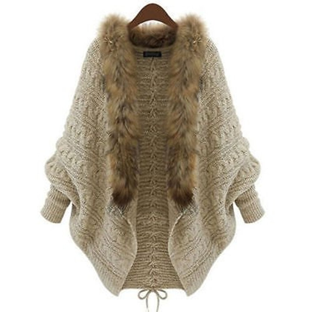 JUICE Winter Women Sweater Batwing Sleeve Knit Cardigan Jacket Coat with Fur Collar