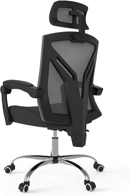 Bürostuhl schwarz weiß Netzbezug Chefsessel Fußablage ergonomisch atmungsaktiv