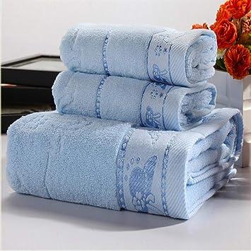 Toalla de baño con 3 toallas de baño de algodón estampadas absorbentes y toalla de ducha azul: Amazon.es: Hogar