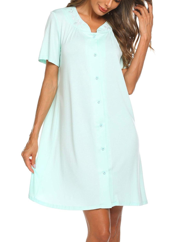 403e861295f Ekouaer Sleepwear Womens Short Sleeves Nightgown Button Front Nightwear  Vintage Duster Lounger PJs Dress S-XXL at Amazon Women s Clothing store