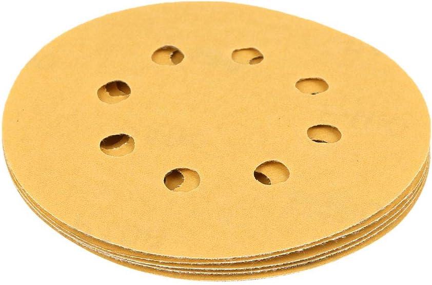 uxcell 20 Pcs 5 Inch 8 Hole Hook and Loop Sanding Discs Sander Pads 400 Grit Sandpaper