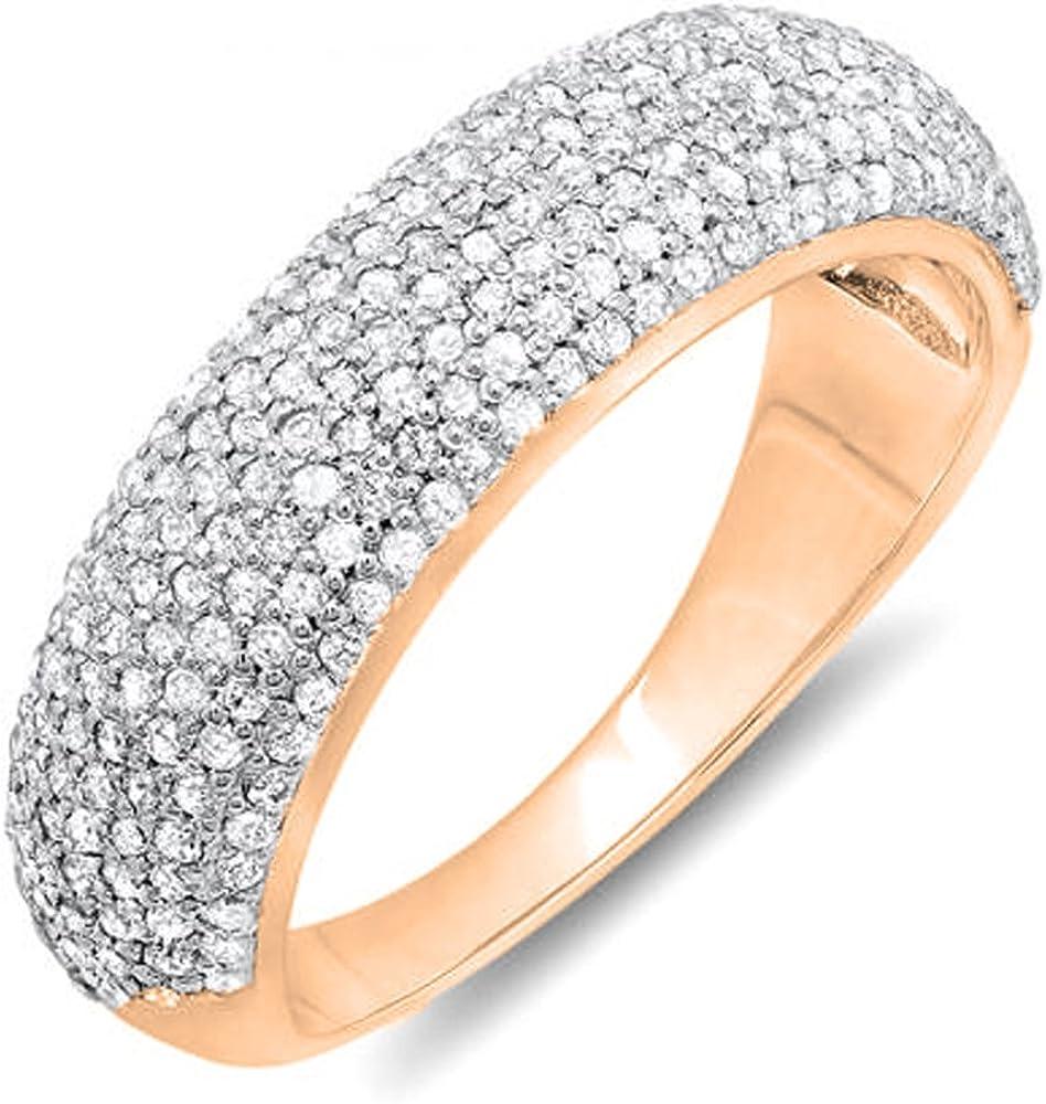 Dazzlingrock Collection 0.90 Carat (ctw) 18k Gold Round Diamond Anniversary Wedding Band Ring