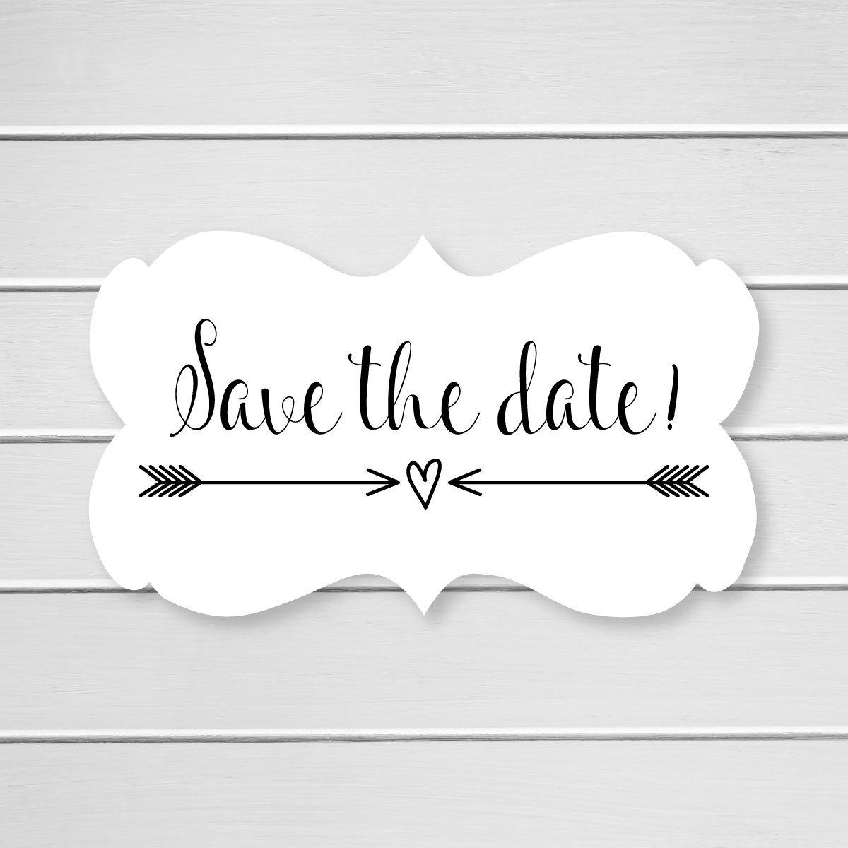 36- Save The Date Wedding Envelope Seals (#366) (Black)