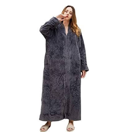 new authentic provide large selection of 60% cheap HGDR Bathrobes Flannel Dressing Gown For Women Zip Up Towel ...