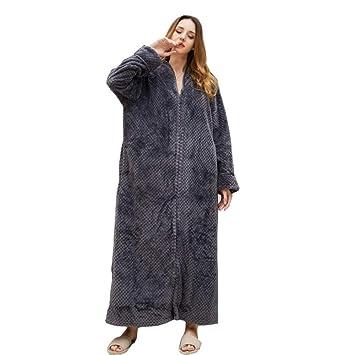 HGDR Albornoz Batas De Franela para Mujer Zip Up Toalla Bata De Baño para Damas Bata De Casa Ropa De Noche Longitud Total Disponible En 6 Colores,Grey-M: ...