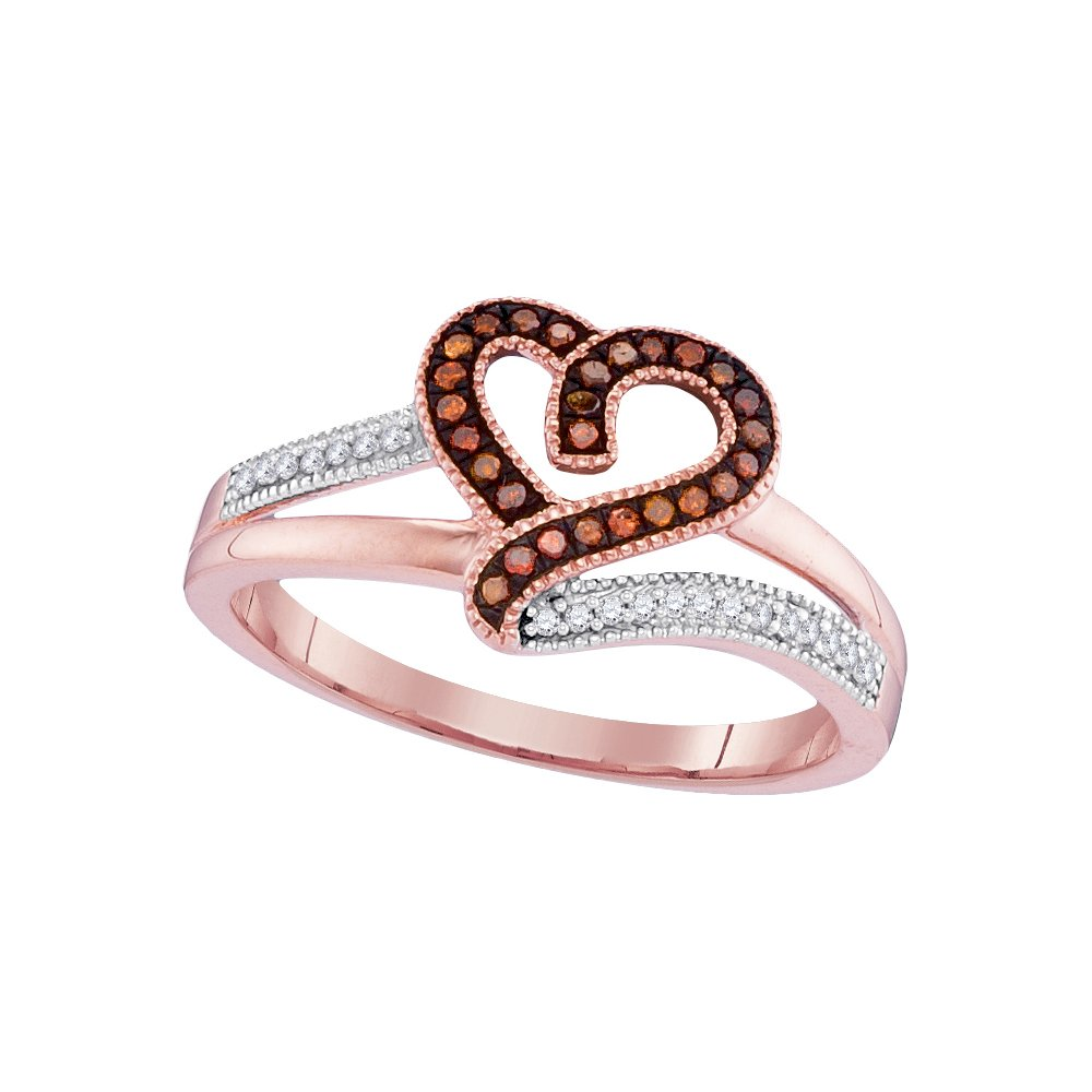 10kt Rose Gold Womens Round Red Colored Diamond Heart Love Ring 1/8 Cttw (I2-I3 clarity; Red color)