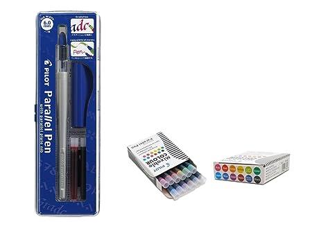 Set 1 Schönschreibfüller Pilot Parallel Pen sortiert plumin 6.0 mm Akku + Box mit 12 Ersatzminen Pilot Parallel Pen