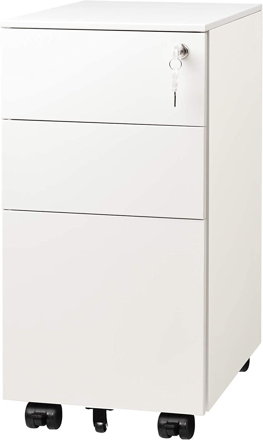 Devaise 3 Drawer Vertical File Cabinet Mobile Filing Cabinet With Interlock System For Home Office White Amazon Ca Office Products