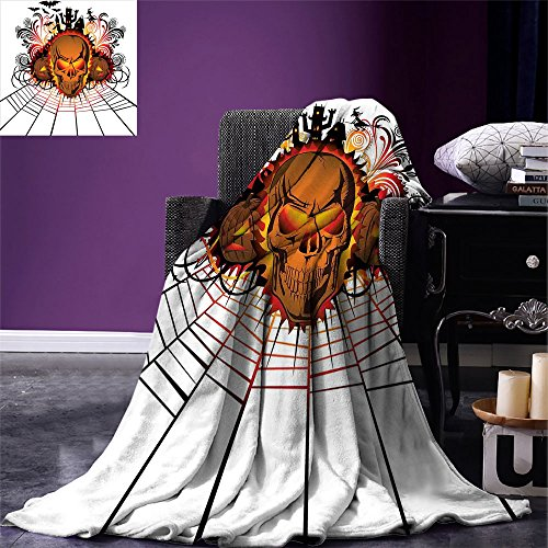 smallbeefly Halloween Digital Printing Blanket Angry Skull Face on Bonfire Spirits of Other World Concept Bats Spider Web Design Summer Quilt Comforter Multicolor