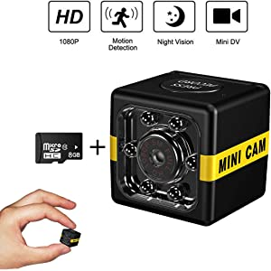 Cop Cam As Seen On TV Mini Spy Camera Wireless Hidden,1080P Surveillance Camera, Convert Security Nanny Cam with Night Vision/Motion Activated for Home Car Office Indoor Outdoor(8GB TF Card)