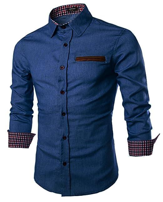 new concept f6c6a 6e676 Coofandy Jeanshemd Herren Denim Shirt Langarmhemd Cowboy-Style Freizeit  Hemd männer Kent-Kragen Business Casual