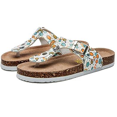 ddefba29c Women Summer Print Pinch Flip Flops Flat Bottom Cork Sandals and Slippers  Flat Shoes Beach Non