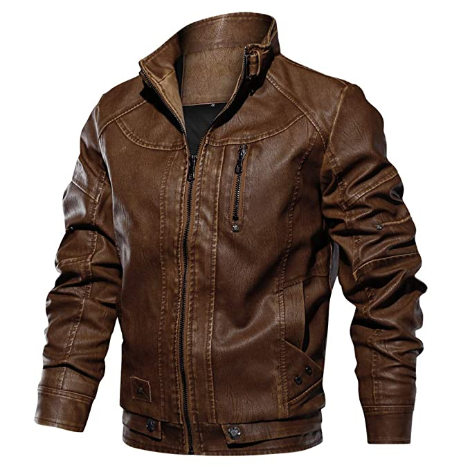 08a9c7970 CRYSULLY Men's Fall Winter Faux Leather Jacket Vintage Stand Collar Thin Pu  Leather Biker Jackets