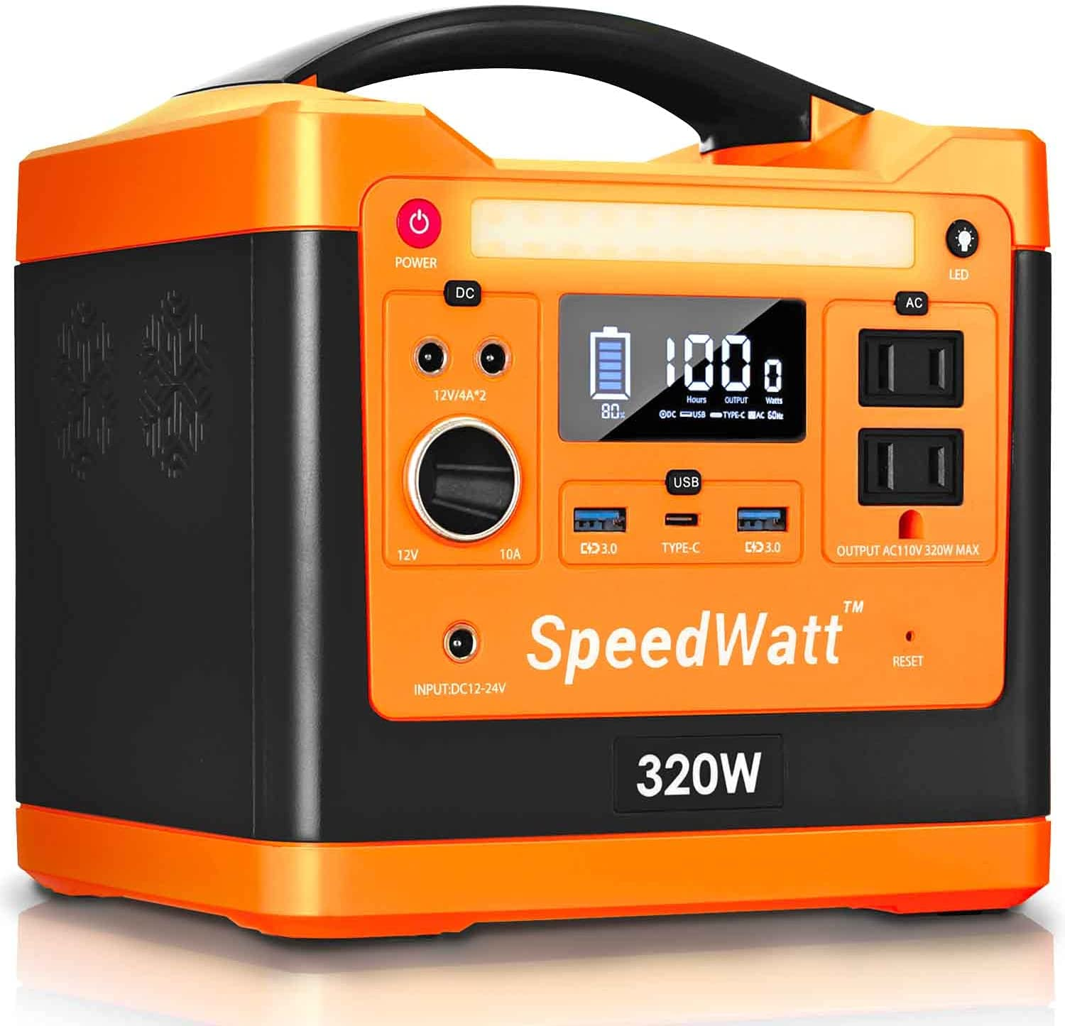 SpeedWatt Neon Orange Portable Power Station, 298 Wh / 96000 mAh Compact Lithium Battery for Memorial Day Weekends Outdoors Camping, 300W Output: 110V AC USB Type-C 60W PD (Solar Panel Not Included)