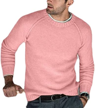 Generic Mens Casual Pullover Sweater Long Sleeve Knitted Crew Neck Solid Pullover Knitted Sweaters