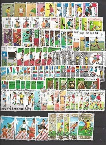 PHILATEMA Football - Coupes du Monde - 100 Timbres Oblitérés