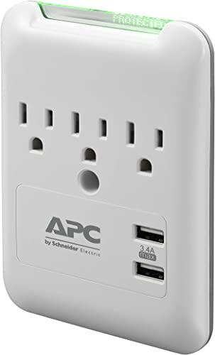 APC Wall Outlet Surge Protector with USB Ports, PE3WU3, (3) AC Multi-Plug Outlet, 540 Joule Surge Protection
