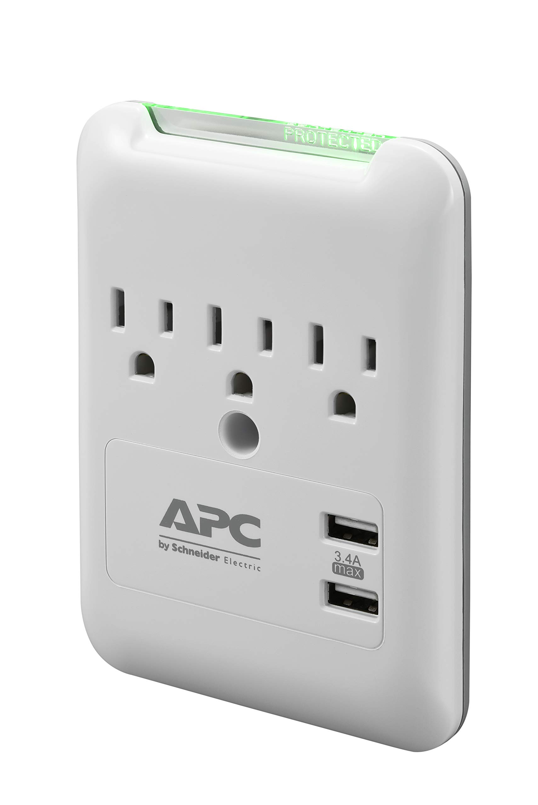 APC Wall Surge Protector, 3-Outlets, 540 Joule Surge Protector with Two USB Charging Ports, SurgeArrest Essential (PE3WU3)