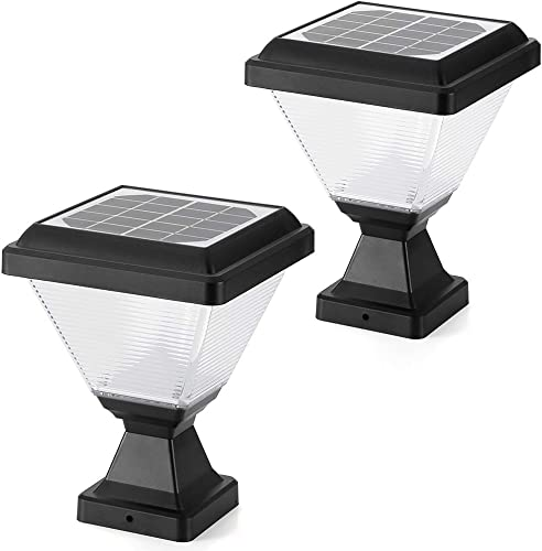 ENGREPO Solar Post Cap Lights 3000K Outdoor,Dusk to Dawn Auto On Off Solar Powered Post Lights for Wood Fence, Pathway, Deck 2 Pack
