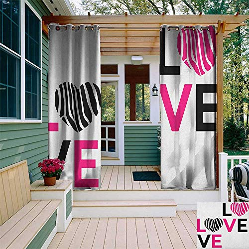 leinuoyi Pink Zebra, Outdoor Curtain Waterproof, I Love You Calligraphy Zebra Stripes Hearts Valentines Illustration, for Gazebo W72 x L108 Inch Pink Black and White