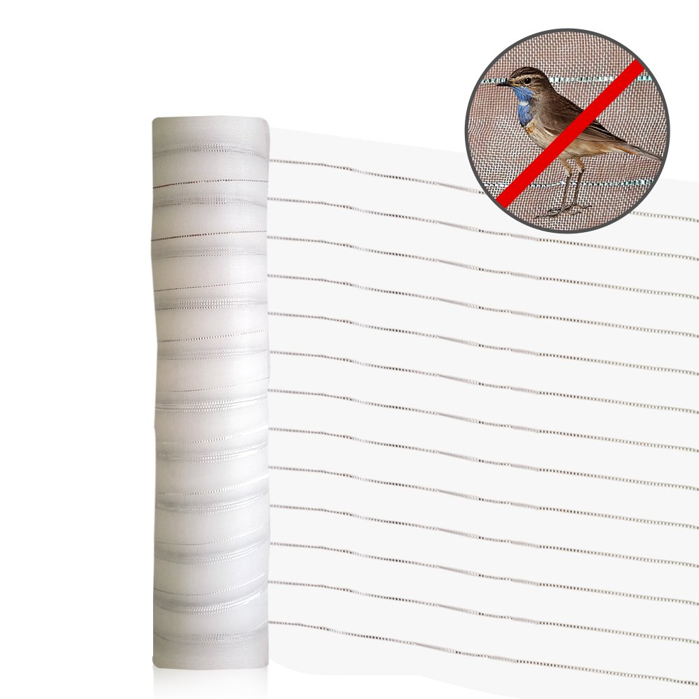 Agfabric New Effective Pest Control Netting 2 Functions Insect-Bird Garden Netting with Silver Thread for Bird Repellent Bird Barrier 6.5'x50' White by Agfabric