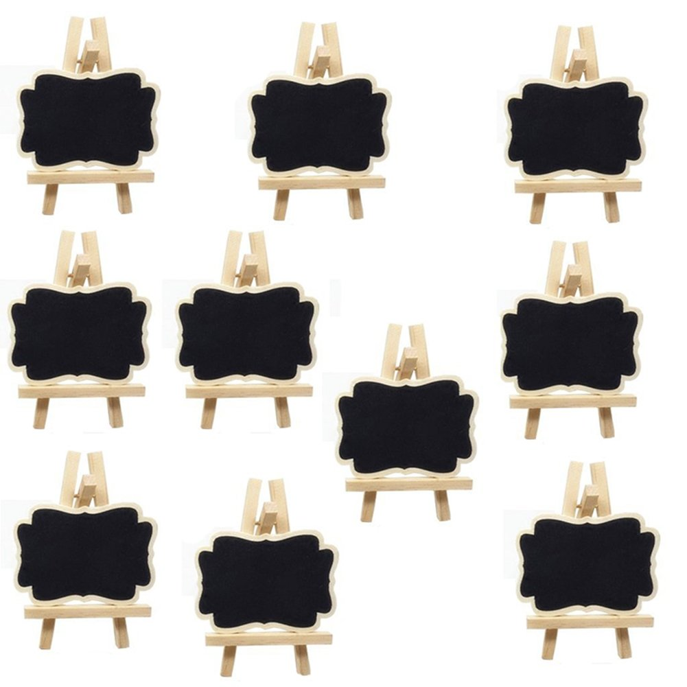 LAAT Mini Chalkboards with Easel Rectangle Notice Board Small Blackboard Card for Wedding/Party/Table Top Numbers/ Food Signs/ Decorating Signs Decor-10PCS (S) size 7x9x1.2cm