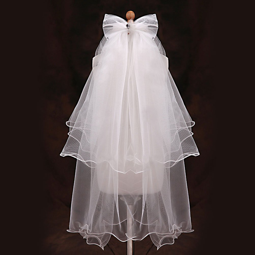 82fa38a1f Amazon.com: Flower Girl Veil, Children's Wedding Veil First Communion Veils  with A White Garland: Clothing