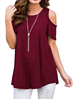 04ad34be5492e PrinStory Women s Short Sleeve Casual Cold Shoulder Tunic Tops Loose Blouse  Shirts