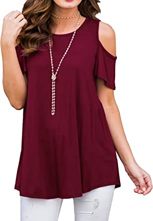 Onegirl Womens Tunic Tops Solid Color Cold Shoulder Half Sleeve V Neck Loose Plus Size Top and Blouse for Women