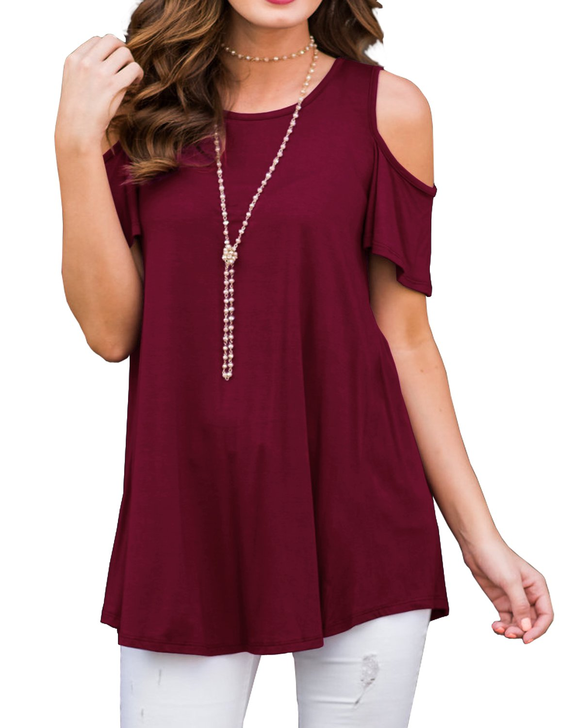 PrinStory Women's Short Sleeve Casual Cold Shoulder Tunic Tops Loose Blouse Shirts Wine Red-L