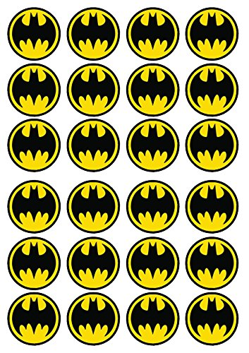 24 Batman #3 Edible PREMIUM THICKNESS SWEETENED VANILLA, Wafer Rice Paper Cupcake Toppers/Decorations