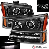 For 2003-2006 Chevy Silverado Black Halo Projector Headlights w LED + Bumer Lights w Daytime LED 2004 2005