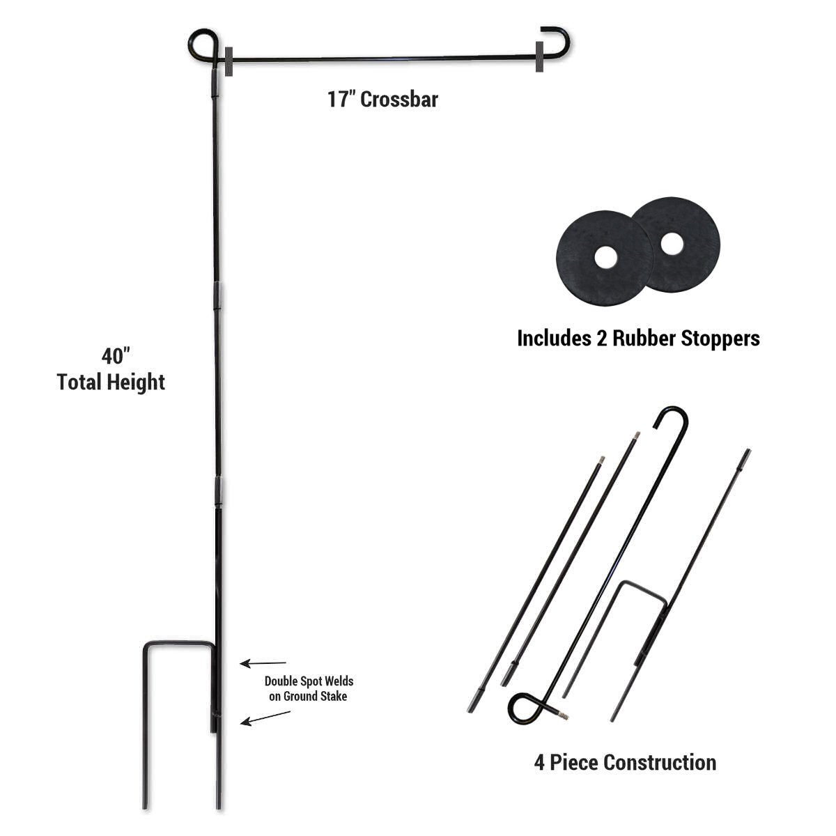 Garden Flag Stand Pole Holder and Rubber Stopper Set