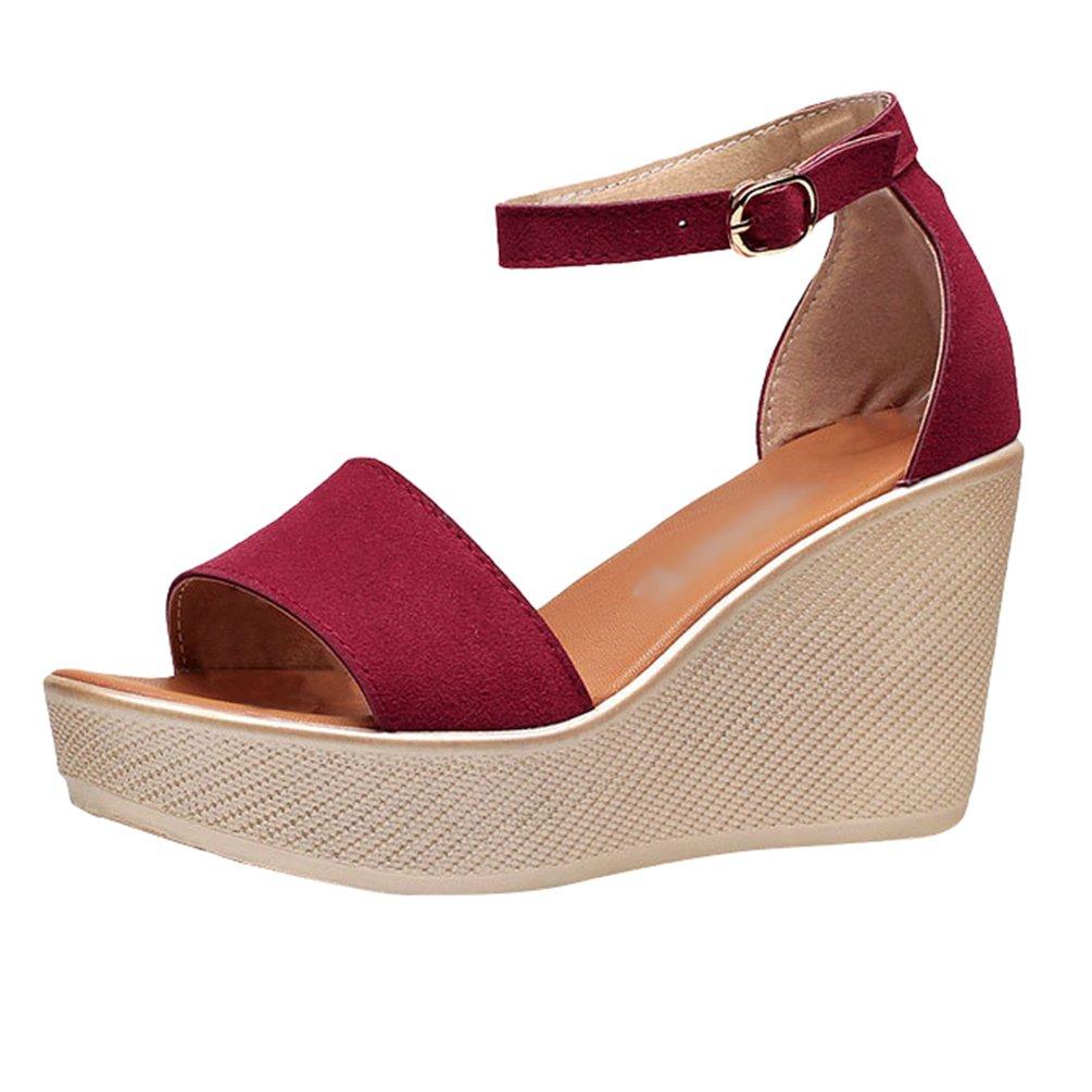Anguang Donna Casual Sandali Scarpe Piattaforma Peep Toe Partito Sandali Cinturino alla Caviglia Rosso
