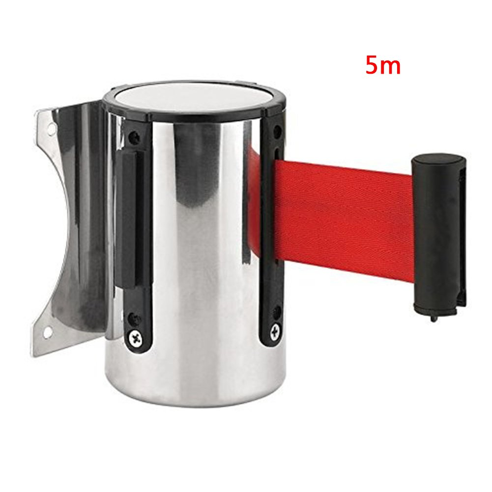 Wall Mounted Safety/Security Barrier Belt, Sport Red Post Wall Mount Retractable Ribbon Stainless Steel Wall Mount 2m/5m(5m,5M) Picturer7 Buildamznuk0202