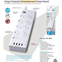SANSAI Power Board 8 Way Outlets Socket 4 USB Charging Charger Ports w/Surge Protector