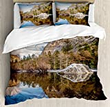 Yosemite Duvet Cover Set by Ambesonne, Yosemite Mirror Lake and Mountain Reflection on Water Sunset Evening View Picture, 3 Piece Bedding Set with Pillow Shams, Queen / Full, Navy Brown
