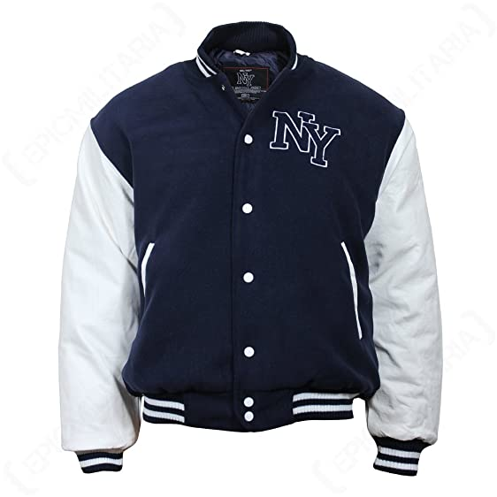 Vintage NY Baseball Jacket - Navy at Amazon Men's Clothing store: