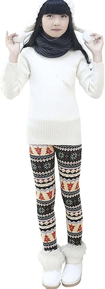 Winter Child Kids Girls Fleece Lined Thick Warm Pants Stretch Leggings 2-7 Year