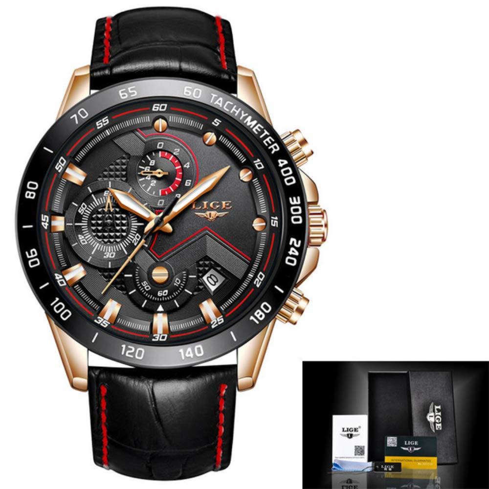 Amazon.com: Relogio Masculino LIGE Fashion Brand Mens Watches Military Sport Quartz Watch Men Business Leather Waterproof Wristwatch Clock 74 (Gold Black ...