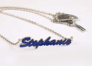 Largentolab Personalized name blue titanium necklace, Stephanie custom name jewelry, new mom and baby name pendant, sterling silver bridesmaid gift