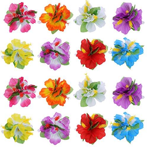 BBTO 24 Pieces Flower Hair Clips Multicolor Hawaiian Hibiscus Flower Hair Accessories for Girls Women Beach Wedding Party Supplies