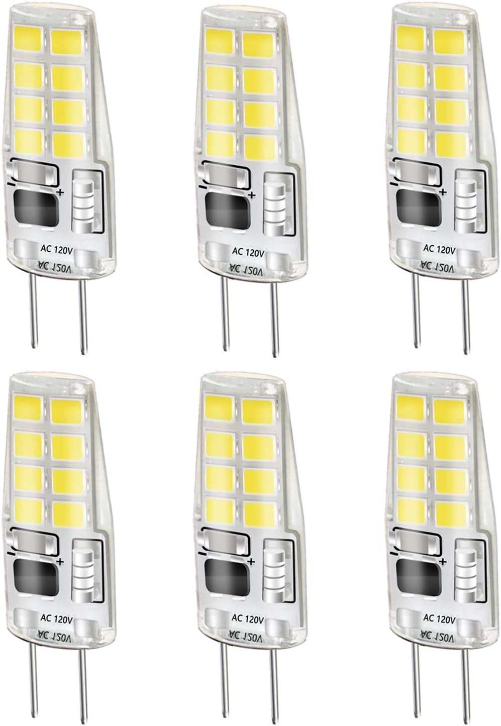 LEKE G8 Bulb White 3W G8 LED Bulb Equivalent to G8 Halogen Bulb 20W-25W AC 110v/120v/130v Dimmable G8 Light Bulb 6000k(6 Pack)