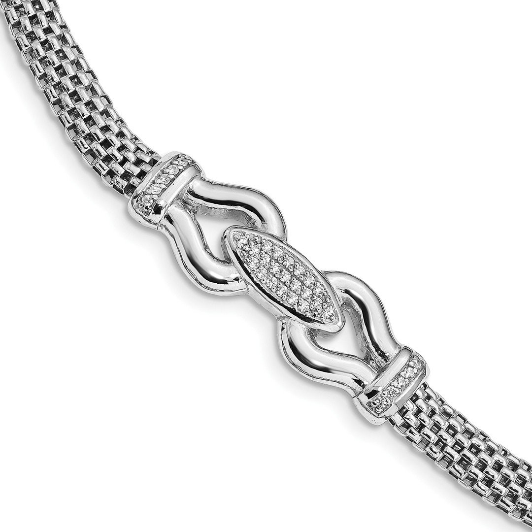 ICE CARATS 925 Sterling Silver Cubic Zirconia Cz Mesh Link Bracelet 7.5 Inch Fancy Fine Jewelry Gift Set For Women Heart
