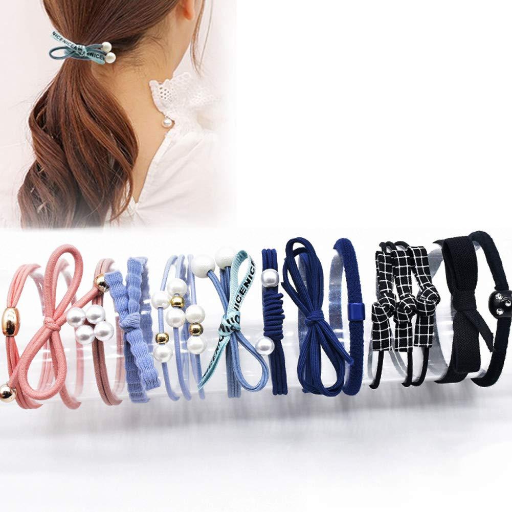 Fashion Girl Women Cuff Holder Ring Fake Pearl Elastic Hair Rope Ponytail