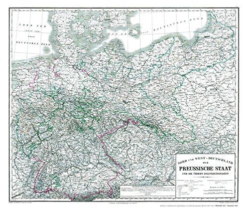 Hist. Karte: Preussen 1865 (plano): Nord und West – DEUTSCHLAND der PREUSSISCHE STAAT und die übrigen Zollvereinsstaaten Landkarte – 26. August 2015 v. Kern W. Kratz A. Gräf H. Kiepert