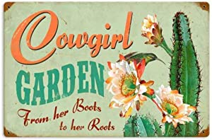 Losea Retro Cowgirl Garden Vintage Metal Sign Garage Signs for Home Decor Tin Art Decor, 8 x 12 Inches